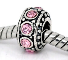 Light Pink Rhinestone October Birthstone Ring Spacer Charm for European Bracelet