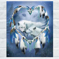 KQ_ BE_ KQ_ White Wolf 5D Diamond Embroidery Cross Stitch Painting Kit DIY Home
