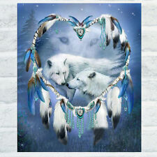 White Wolf 5D Diamond Embroidery Cross Stitch Painting Kit DIY Home Decoration