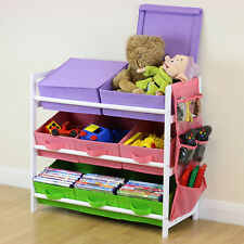 Pink White Blue 3 Tier Toy Unit 6 Canvas Boxes Drawers Kids Childrens Storage