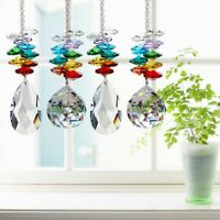 25cm Rainbow Maker Crystal Suncatcher 30/50mm Chandelier Ball Prism Pendant US