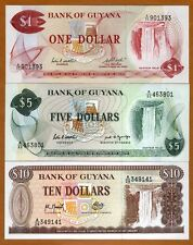 SET Guyana 1;5;10 dollars ND (1966-1992) P-21-22-23 UNC   Obsolete Denominations
