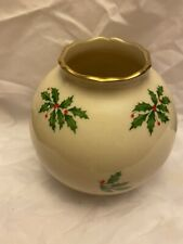 """New listing Lenox Holiday Round Globe Vase Holly Design Gold Color Trim 4 1/4"""" Tall Made Usa"""