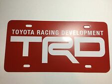 TRD Toyota Racing Development Plastic License Plate  Delete Tag Vanity Red White