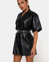 MOTEL ROCKS Fresia Dress in PU Black   Small S   *belt not incl*  (MR88)