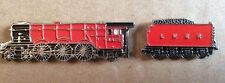 2 TRAIN LAPEL PIN BADGES  -  RED LOCOMOTIVE FLYING SCOTSMAN STYLE TRAINS (BB5)