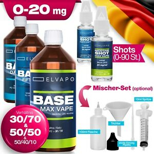 1 Liter Elvapo E Liquid Base DIY SET 50/50 70/30 mit Nikotin 0/3/6/9/12/18mg