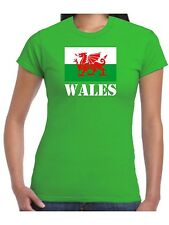 Ladies Wales T Shirt Welsh Flag St Davids Day Dragon of Cadwallader Womans Top