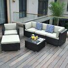 Yitahome Black Wicker Rattan Sofa Table W/ Glass Patio Outdoor Garden Furniture