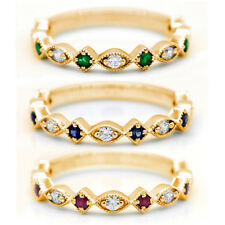 Real Emerald/Sapphire/Ruby Diamond 14kt Yellow Gold Stackable Minimalist Band