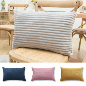 1PC Cushion Covers Pillow Cases Cover Soft Comfy Corduroy Corn Striped 30x50cm