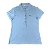Womens Lacoste Light Blue Polo Shirt Short Sleeve | Size 40 / 12