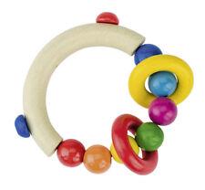 GREIFLING halbrund mit Perlen Greifer Greifring Babyspielzeug Holz Beißring NEU