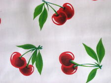 WHITE CHERRY STELLA RETRO FRUIT KITCHEN OILCLOTH VINYL DINING TABLECLOTH 48x108