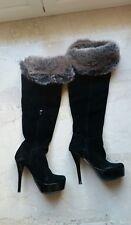 stivali alti 35 tacco pelle pelliccia neri 300€ boots Italy scarpe sexy shoes