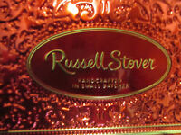 "2 Vintage Russell Stover Chocolate Empty Tins 12""X4""X1 1/2"" Candy Tins RED"