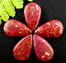 Wholesale 5Pcs Red Leopard Skin Turquoise Stone Teardrop Pendant Beads AB155