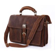 Men Genuine Leather Attache Briefcase 16'' Laptop Portfolio Handbag Shoulder Bag
