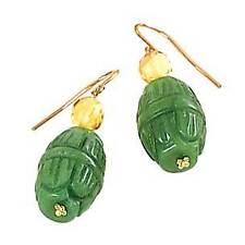 14 Kt Yellow Gold & Carved Green Jade Scarab Drop Hoop Earrings New