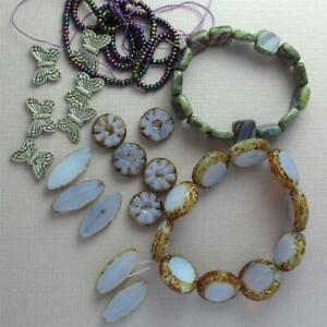Czech Lilac beads and Butterflies --- LOT