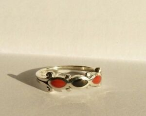Moderner Silberring 925 Silber rot-schwarz-rot, Gr. 48 - super klein