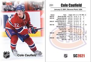 2021 SC #231 Cole Caufield white RC rookie Montreal Canadiens