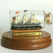 "Miniature Ship In A Bottle 2.5"" USS CONSTITUTION 1797 German Design Uruguay Made"
