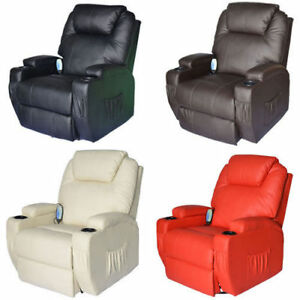 Leather Massage Sofa Cinema Recliner Chair Lounge Swivel Rocking Heat Vibrate