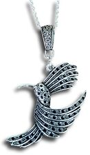 Flying Hummingbird in Silver Pendant Necklace by Pashal