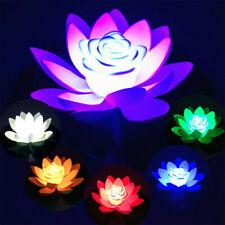 Floating Solar Powered LED Lotus Flower Light Pond Pool Garden Landscape Lamps