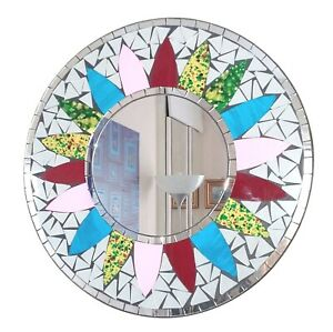 Round mosaic wall mirror, grey and pink flower design hand made in Bali-40cm NEW