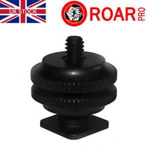 "Hot Shoe 1/4"" Screw Adaptor Cold Shoe Mount DSLR Adaptor Double Nut"