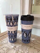 New Vera Bradley Lot of 2 Blue Playful Penguins Travel Mug and Tumbler