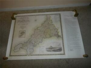 RARE MAP OF CORNWAL BEAUTIFUL MAP OF UK COUNTRIES ENGLAND PUB SIGNED NUMBERED