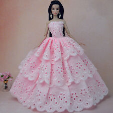 Pink Handmade Wedding Gown Dresses Clothes Girl Party For Princess Barbie Doll