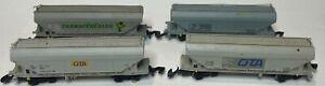 4 Marklin z scale covered grain hopper silo freight cars - 82620 - used no box