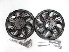 "2X REV9 UNIVERSAL 12"" IN RADIATOR S BLADE ELECTRIC PUSH/PULLER SLIM COOLING FAN"