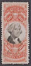 US Revenue (Scott R140) 1872 3rd Issue 30c orange & black Documentary USED