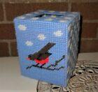 VTG Plastic Canvas Blue Check Tissue Box Cover Square Handmade Needlepoint Robin