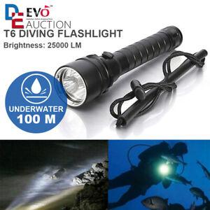 25000Lm T6 LED Tauchen Taschenlampe Unterwasser Max 100m