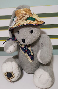 CUDDLE WIT GREY BUNNY RABBIT WITH GORGEOUS HAT AND PATCHES PLUSH TOY! EASTER