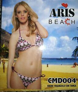 Costume Mare Donna Aris Beach Bikini Triangolo Tanga a Laccetti Colore Viola