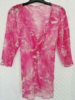 Ladies M&S PER UNA Tunic Top Size 16 Pink Floral Sheer Belt Sheer Long Sleeve