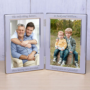 Dad & Grandad Silverplated Double Photo Frame 6x4 - Personalised Fathers Day