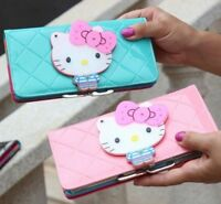 Women Hello Kitty Female Bow Fashion Designer Leather Long Wallet Zippered Purse