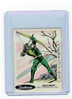 Sunbeam Bread DC Super Heroes Sticker Card #25 Dick Giordano Signed Green Arrow