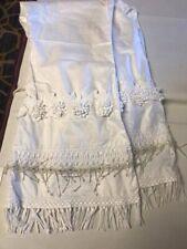 White Pakistani Flare Pants Tassel 3d Flower Lace Sz Medium Latest Style Eid