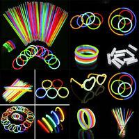 Lot Glow Sticks Bracelets Necklaces Neon Colours Party Favors Rave Disco AG