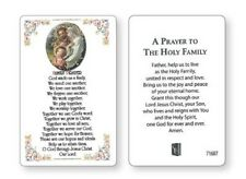 HOLY FAMILY MARY JOSEPH JESUS - LAMINATED PRAYER CARD - STATUES CANDLES PICTURES