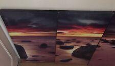 "Sunrise Beach Parted Canvas Wall Art Picture Split Multi Panel W 17"" X 33"" H"